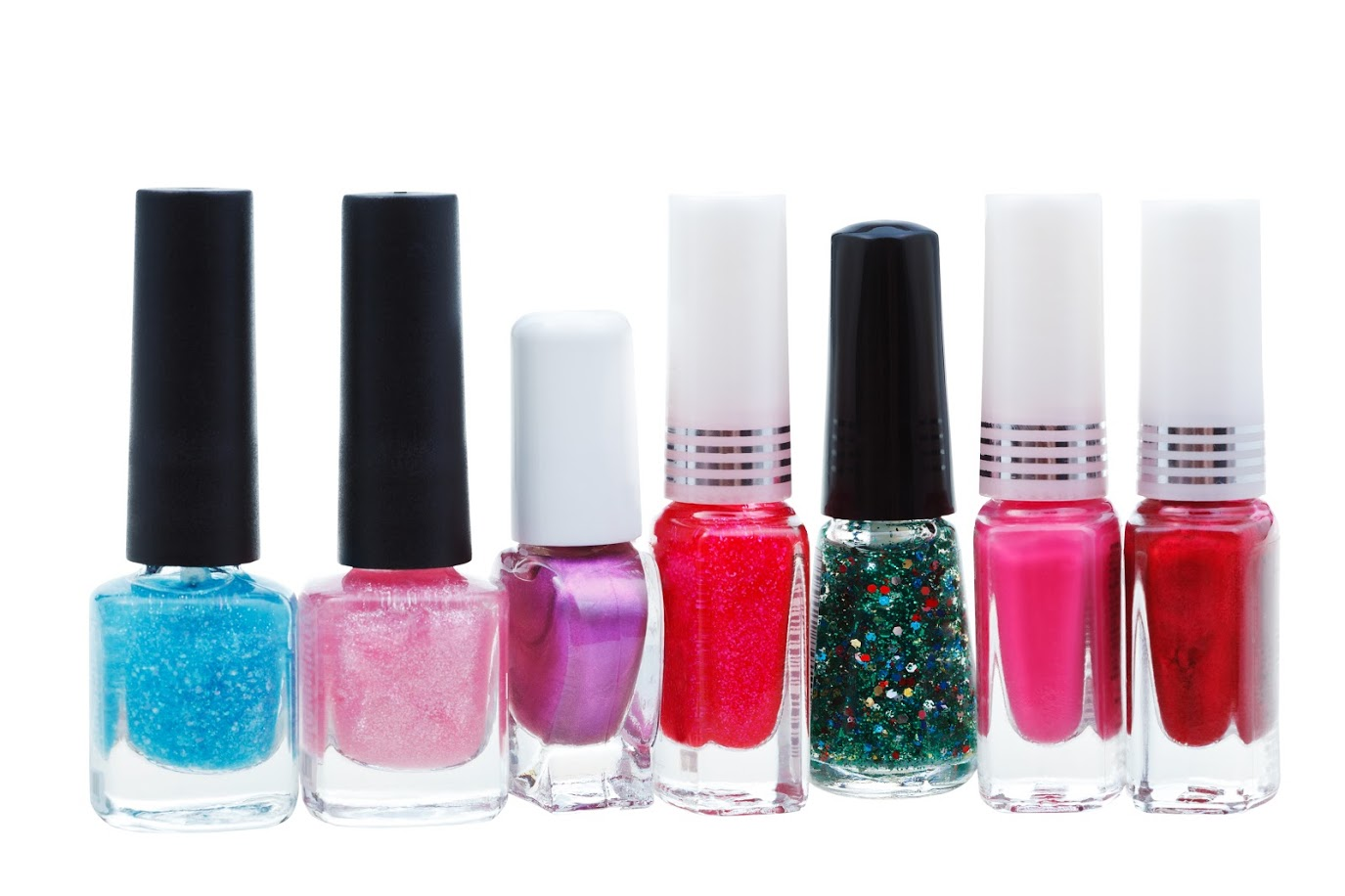 set of various nail polish isolated on white background